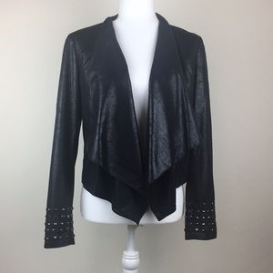 INC faux leather jacket with black studs on cuffs